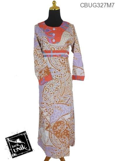 Gamis Batik Katun Motif Kotemporer Bunga Soft