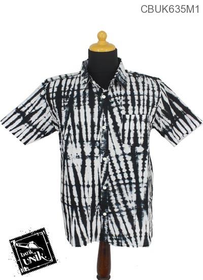 Baju Batik Terbaru  Kemeja Motif Jumputan Hitam Putih