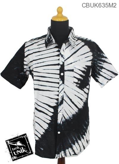 Baju Batik Kemeja Motif Jumputan Hitam Putih