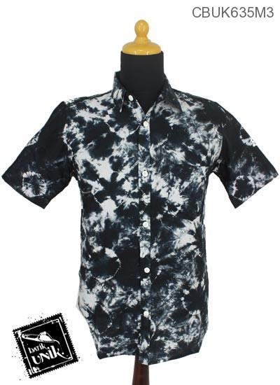 Baju Batik Kemeja Motif Jumputan Hitam Putih Kemeja