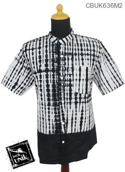 Baju Batik Kemeja Kerah Koko Motif Jumputan Hitam Putih