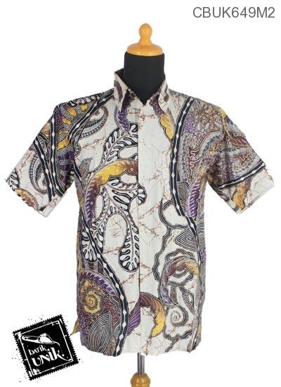 Kemeja Batik Pekalongan Motif Godhong Warna Pelangi