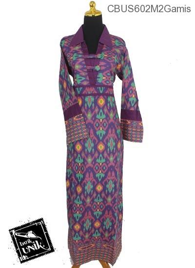 Baju Batik Sarimbit Gamis Motif Tenun Tetris Gamis Batik