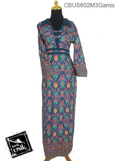 Baju Batik Sarimbit Gamis Motif Tenun Tetris