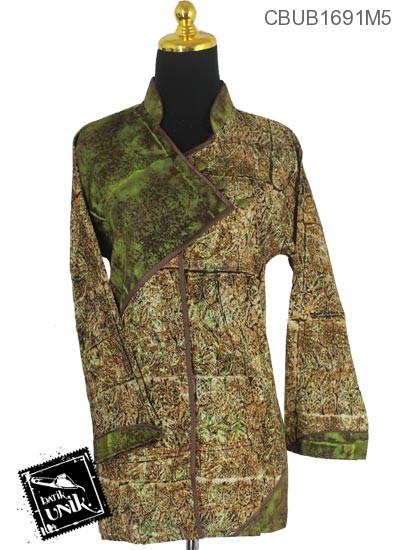 Baju Batik Blus Panjang Pekalongan Motif Abstrak Kembang Tumpuk