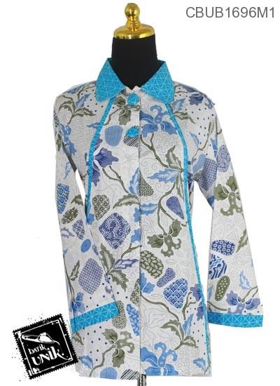 Baju Batik Terbaru  Blus Panjang Katun Motif Batu Tumpal Baris