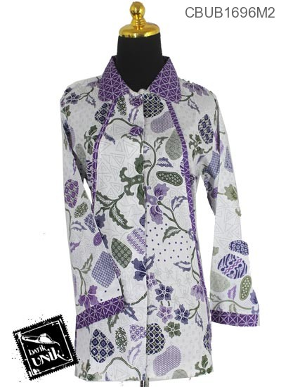 Baju Batik Blus Panjang Katun Motif Batu Tumpal Baris