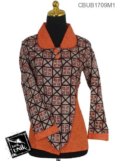 Baju Batik Terbaru  Blus Panjang Motif Kotemporer Kembang Alas