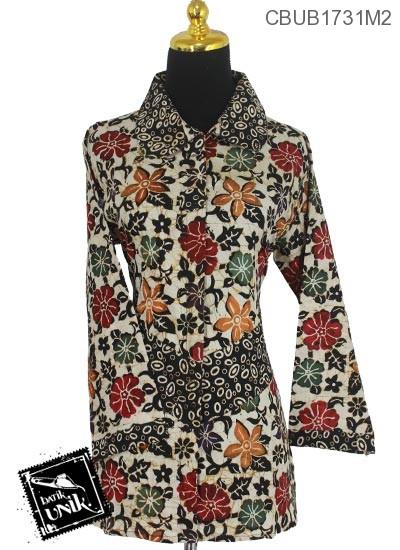Blus Batik Panjang Katun Motif Godhong Tumpal Warna