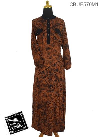 Baju Batik Gamis Motif Kotemporer Coklat Isi Gamis Batik