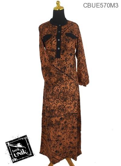 Baju Batik Gamis Motif Kotemporer Coklat Isi