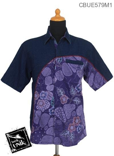 Baju Batik Terbaru  Kemeja Jeans Motif Kotemporer Jagad
