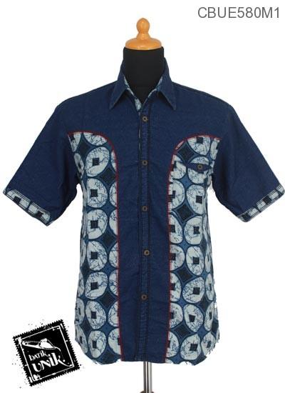 Baju Batik Terbaru  Kemeja Jeans Motif Etnik Jawa