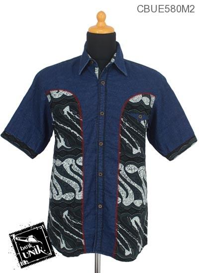 Baju Batik Kemeja Jeans Motif Etnik Jawa