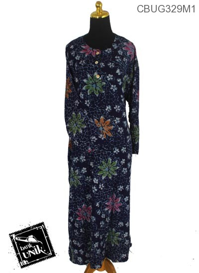 Longdress Batik Terbaru  Santhung Motif Kotemporer Bunga Mleber
