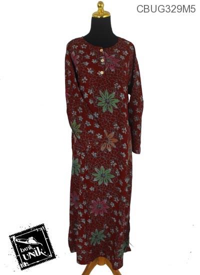 Longdress Batik Santhung Motif Kotemporer Bunga Mleber