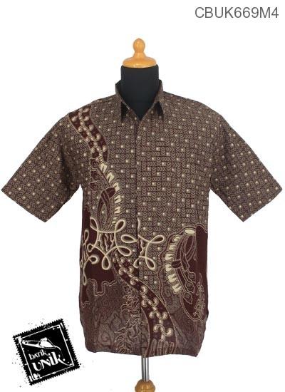 Kemeja Batik Katun Motif Panah Endok Putih