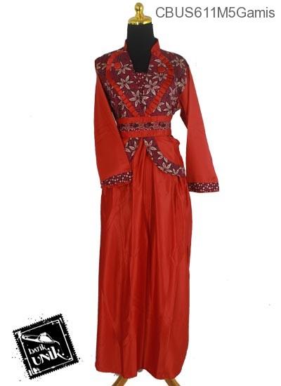 Baju Batik Sarimbit Gamis Motif Kembang Regolan Tumpal