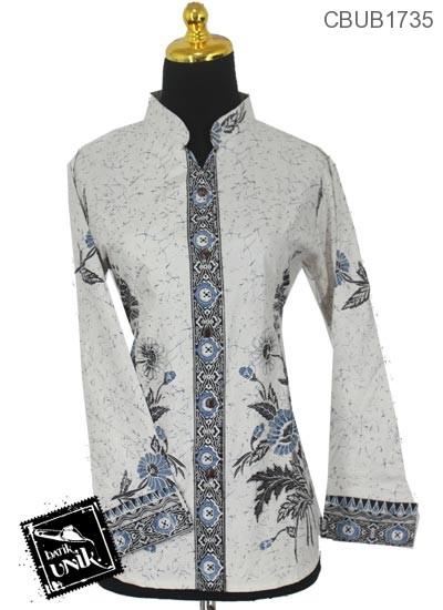 Baju Batik Terbaru  Blus Panjang Motif Aster Tumpal