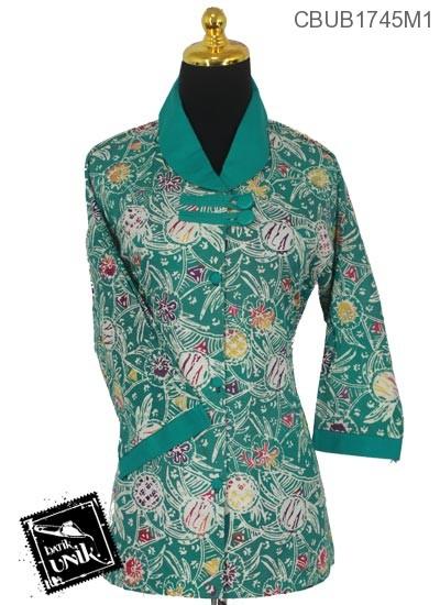 Baju Batik Terbaru  Blus Tanggung Motif Kotemporer Kembang Pastel