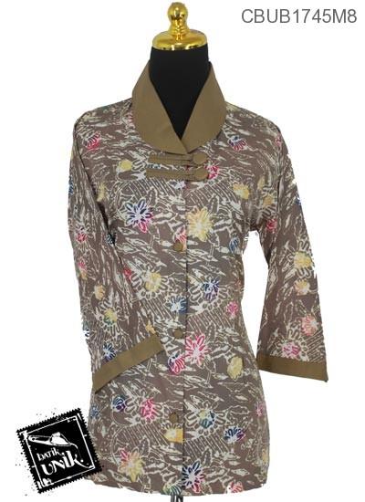 Baju Batik Blus Tanggung Motif Kotemporer Kembang Pastel