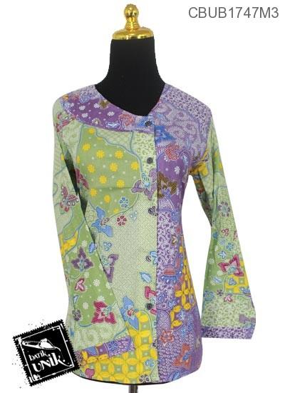 Blus Batik Panjang Motif Kombinasi Kawung Sekar Kontemporer