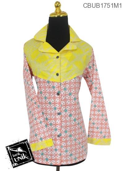Baju Batik Blus Panjang Pekalongan Motif Soft Motif Kawung Cacaban