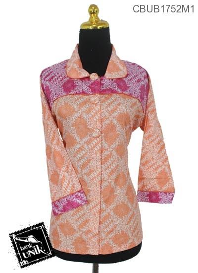 Baju Batik Terbaru  Blus Panjang Motif Bunga Parang