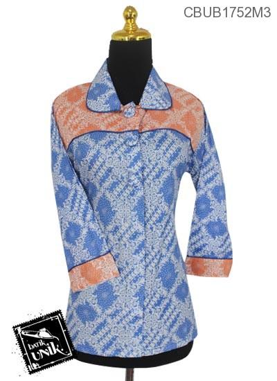 Baju Batik Blus Panjang Motif Bunga Parang