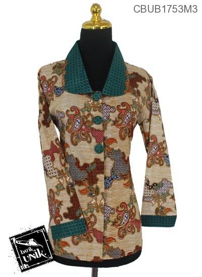 Baju Batik Blus Panjang Katun Motif Jagad Cumi Tumpal