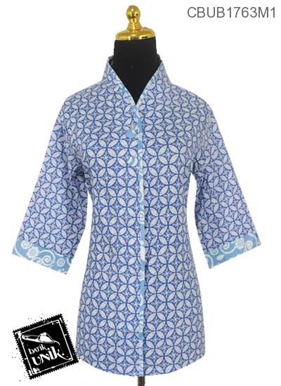Blus Batik Terbaru  Tanggung Motif Kawung Warna Soft