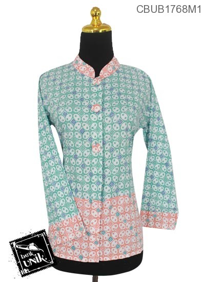 Baju Batik Terbaru  Blus Panjang Motif Kawung Warna Soft