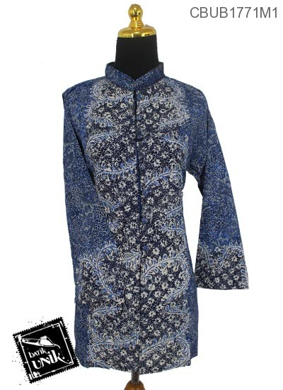 Baju Batik Terbaru  Blus Panjang Katun Motif Daun Sisik Alas