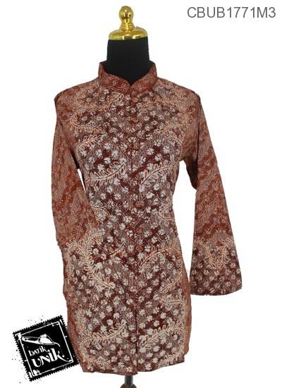 Baju Batik Blus Panjang Katun Motif Daun Sisik Alas