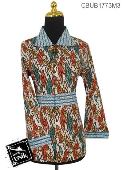 Blus Batik Panjang Pekalongan Motif Mega Mendung Warna