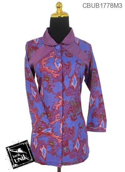 Baju Batik Blus Panjang Motif Mega Kobar Api