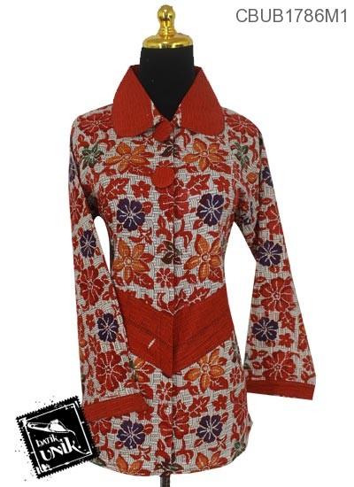 Baju Batik Terbaru  Blus Panjang Katun Motif Dedaunan Warna Anyam Dua