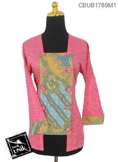 Blus Batik Terbaru  Panjang Kutu Baru Motif Abstrak Bunga Warna Soft