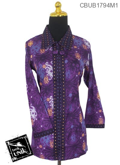 Baju Batik Terbaru  Blus Panjang Motif Ubur-Ubur Abstrak