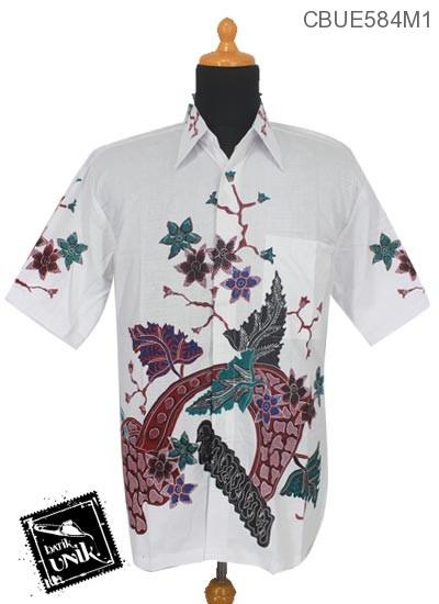 Kemeja Batik Terbaru  Katun Motif Bunga Sedap Malam