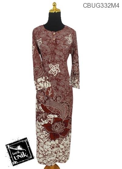 Baju Batik Longdress Santhung Motif Abstrak Kembang Mawar