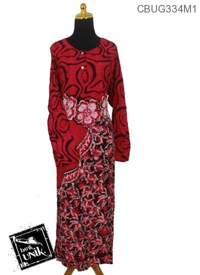Baju Batik Terbaru  Longdress Santhung Motif Bunga Krokot
