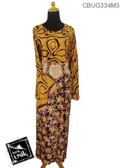 Baju Batik Longdress Santhung Motif Bunga Krokot