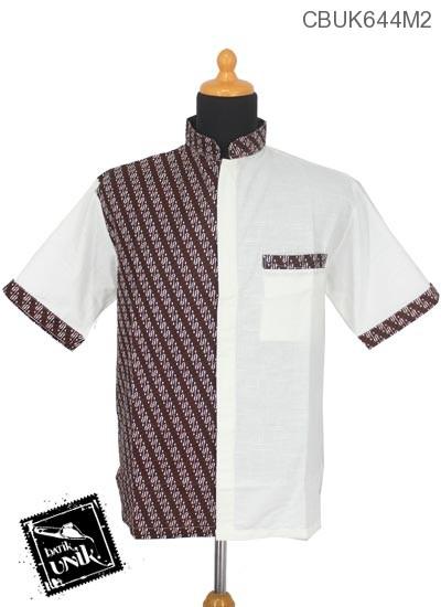 Baju Batik Kemeja Koko Motif Parang Es Isi Putih Tulang