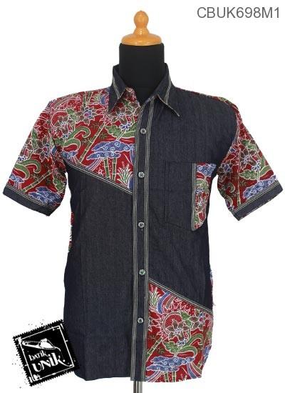 Kemeja Pendek Kombinasi Soft Jeans Motif Mego Empring Ruas