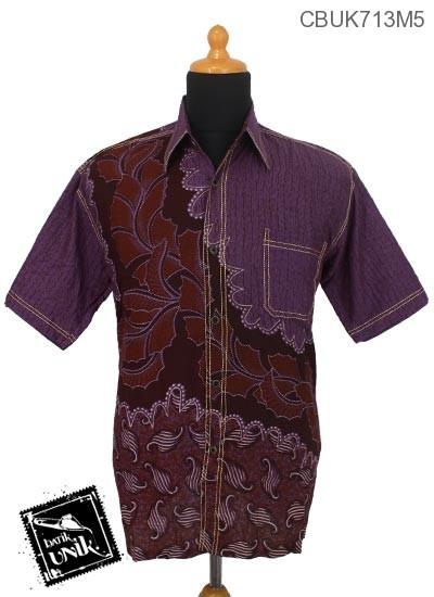 Kemeja Batik Smok Pekalongan Motif Daun Kerang