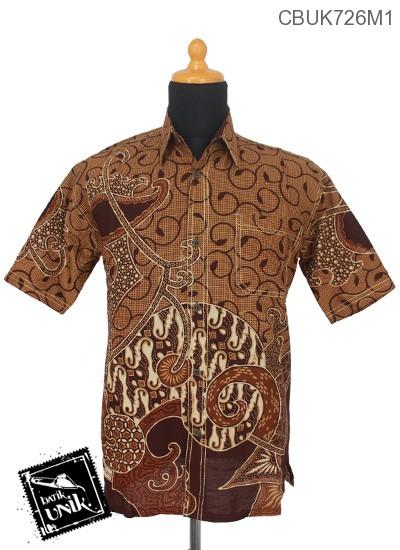 Kemeja Batik Smok Motif Kawung Tangkai Bunga