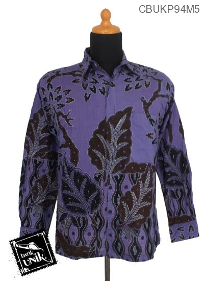 Baju Batik Kemeja Panjang Motif Daun Jati
