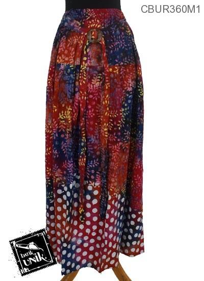 Rok Batik Terbaru  Klok Cap Motif Daun Tumpal Pulkadot