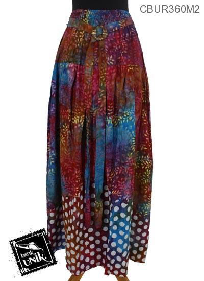 Rok Batik Klok Cap Motif Daun Tumpal Pulkadot | Rok Murah